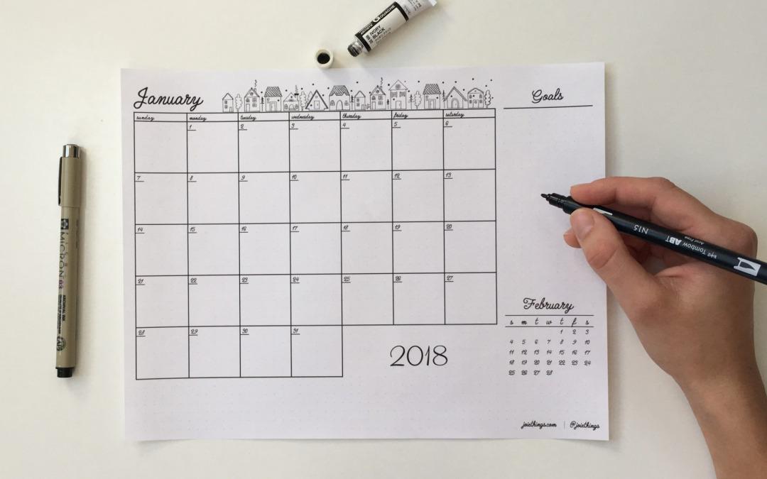 FREEBIE – January Monthly Calendar