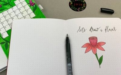 Step-by-step: Fuchsia simple flower